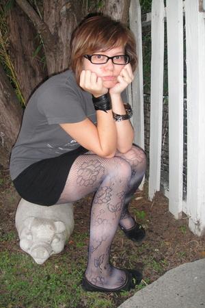 gray Threadless t-shirt - black American Apparel skirt - blue Urban Outfitters t