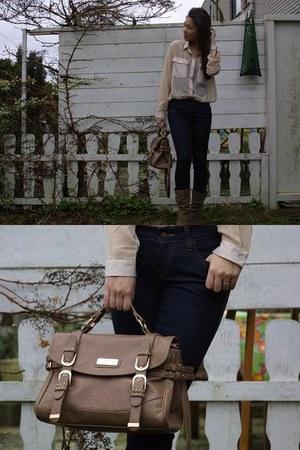 navy H&M jeans - camel River Island bag - eggshell Monki blouse
