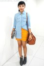 Gray-parisian-boots-turquoise-blue-denim-shirt-bronze-bucket-bag