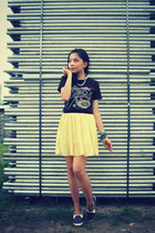 light yellow skirt - black diy shoes - black shirt