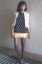 light yellow scallop skirt - brown shoes - peach lace blazer - black stockings