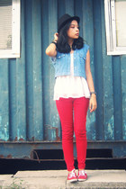 red pants - black hat - white top - red keds sneakers - blue denim vest