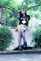 firmoo glasses - PERSUNMALL skirt - UP wedges - printed tee t-shirt
