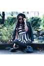 Beanie-thrifted-hat-stripes-tipsy-bangkok-dress-forever-21-jacket