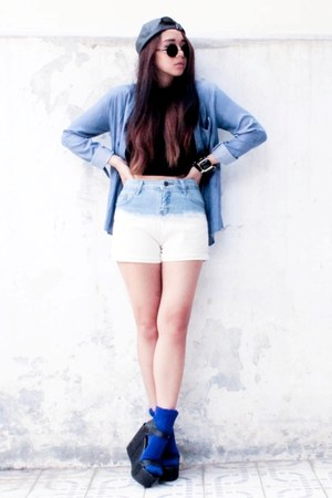 Forever 21 top - Stradivarius hat - denim shirt Zipper And Lace shirt