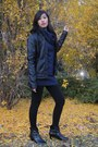 Navy-dress-black-jacket-black-leggings