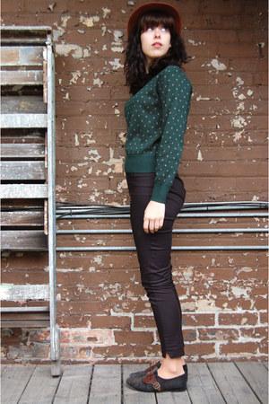 forest green vintage sweater - tawny vintage felt vintage hat
