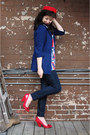 Blue-peplum-cotton-urban-outfitters-jacket-navy-gap-jeans