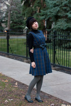 black vintage hat - navy vintage dress - black turtleneck wool vintage sweater