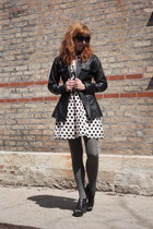 black leather fitted BB Dakota jacket - neutral modcloth dress