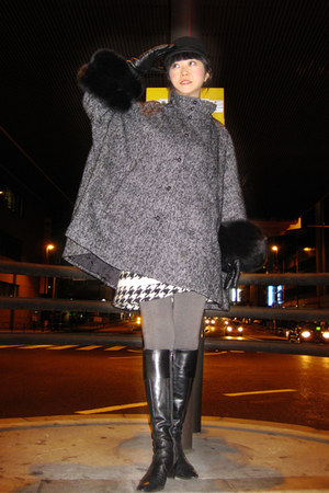 tweed Tsumori Chisato skirt - riding boots Isetan boots - H&M coat