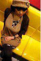 Apart by Lowrys dress - Uniqlo dress - with faux fur vintage knit cap hat - Tsum