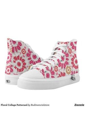 hot pink floral print DFLCPrints shoes - white floral print DFLCPrints shoes