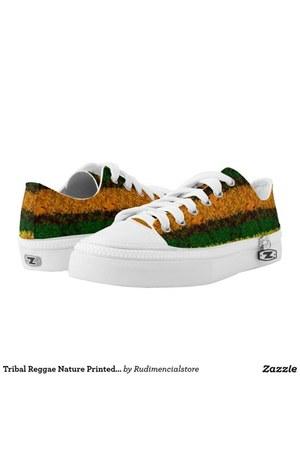 burnt orange printed DFLCPrints shoes - green printed DFLCPrints sandals