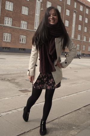 beige Chinese Brand coat - purple H&M scarf - black new look dress - black H&M s
