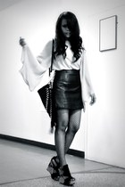 black leather Topshop skirt - black Dangerfield bag