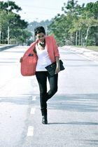 pink Vintage Gianni Versace blazer - white Forever21 top - black Miss Selfridge