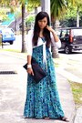 Turquoise-blue-multicoloured-sportsgirl-dress-black-studded-sportsgirl-purse