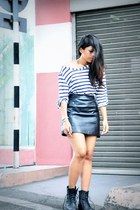 black flea market boots - navy striped Kmart top - black leather Topshop skirt -