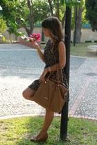 black dress - burnt orange bag - light brown wedges