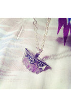 Sterling Silver Raw Amethyst Crystal Necklace, Bohemian Pendant, Womens Silver,
