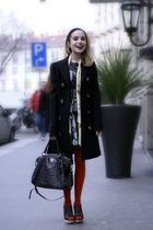 brown Marni shoes - green Marni dress - black Prada coat - black Prada bag