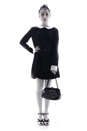 gold Chanel shoes - black Tara Jarmon dress - black Chanel bag - white Calzedoni