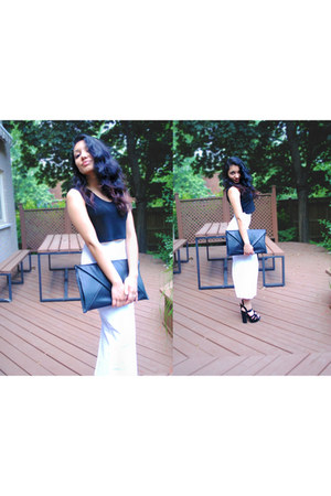 white maxi slip vintage skirt - black DIY purse - black diy crop-top Gap top