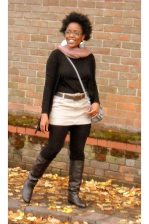 Miss Selfridge skirt - chocolate boots Dorothy Perkins boots