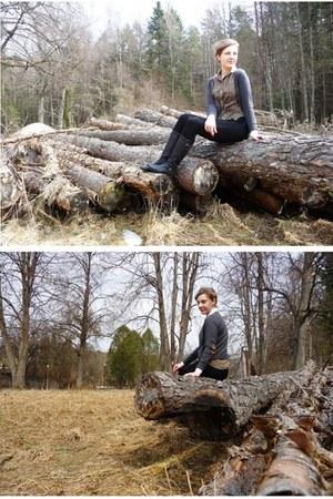vintage shirt - vagabond boots - lindex jeans - H&M cardigan