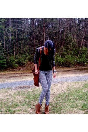 H&M bag - H&M boots - animal print J Brand leggings