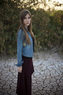 Sky-blue-denim-jacket-jacket-black-dangerously-beautiful-shirt-crimson-skirt