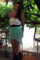black Benvenuti boots - aquamarine skirt - white Bershka top