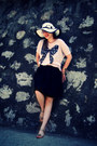 White-hat-gold-sandals-black-skirt-light-pink-bershka-t-shirt