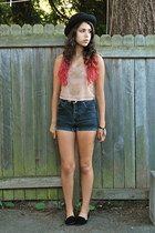 black Value Village shorts - peach Forever 21 top