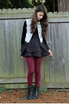 black Target skirt - crimson Payless tights - light blue Wear vest