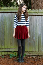 crimson American Apparel skirt - navy thrifted sweater - black savers belt