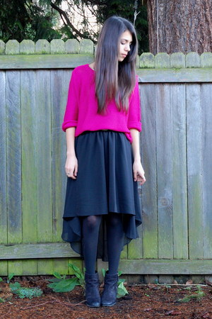 black high-low hem Sheinside skirt - hot pink H&M sweater