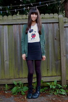 black DIY skirt - black Forever 21 boots - dark green Urban Outfitters cardigan