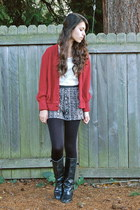black Harriet Carter tights - black crossroads boots - crimson Goodwill sweater