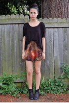 burnt orange Sheinside skirt - black Urban Outfitters top