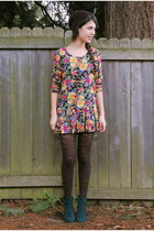 orange vintage dress - forest green Goodwill boots - black Urban Outfitters hat