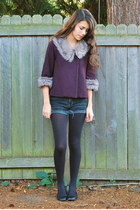 deep purple Forever 21 jacket - black Urban Outfitters tights