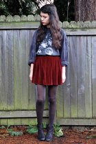 crimson American Apparel skirt - black Nordstrom boots - gray Goodwill shirt