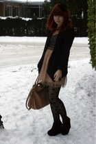 black Topshop jacket - nude Dahlia dress - tan Chloe bag - black H&M tights - bl