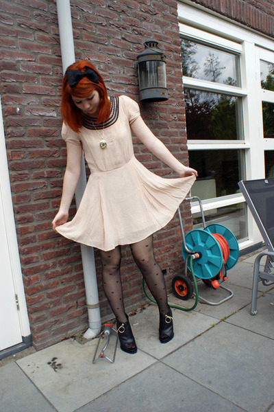 beige Topshop dress - black River Island tights - black Givenchy boots