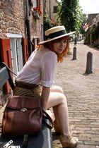 beige Topshop hat - white Desinger Remix blouse - green Zara shorts - brown Zara