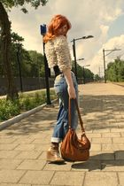 beige Topshop jacket - black H&M top - blue i have no idea jeans - brown Marc by