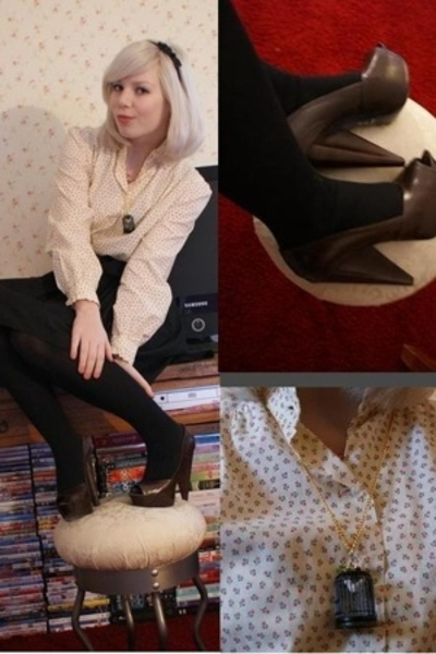vintage blouse - selfmade skirt - Costume National shoes