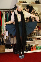 white vintage top - blue h&m divided skirt - black pieces scarf - blue Prada sho